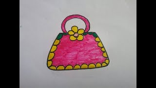 How to draw hand purse,girl accessories, drawing of purse with basic shapes.