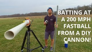 Carved attempts to bat at a 200 mph fastball from a DIY cannon.