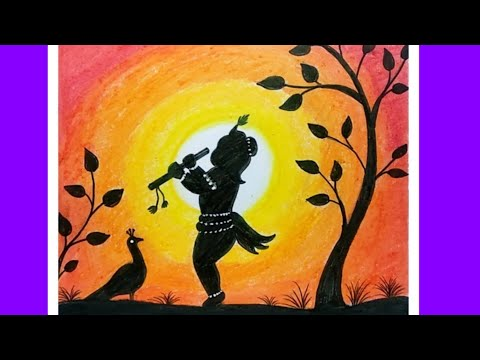 Easy Drawing Little Krishna by Oil Pastels | How to Draw Lord Krishna | Janmastami Drawing