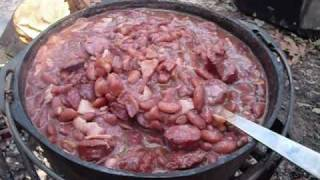 Cooking Red Beans & Sausage Over A Campfire