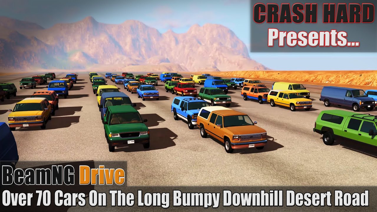 BeamNG Drive - Over 70 Cars On The Long Bumpy Downhill Desert Road