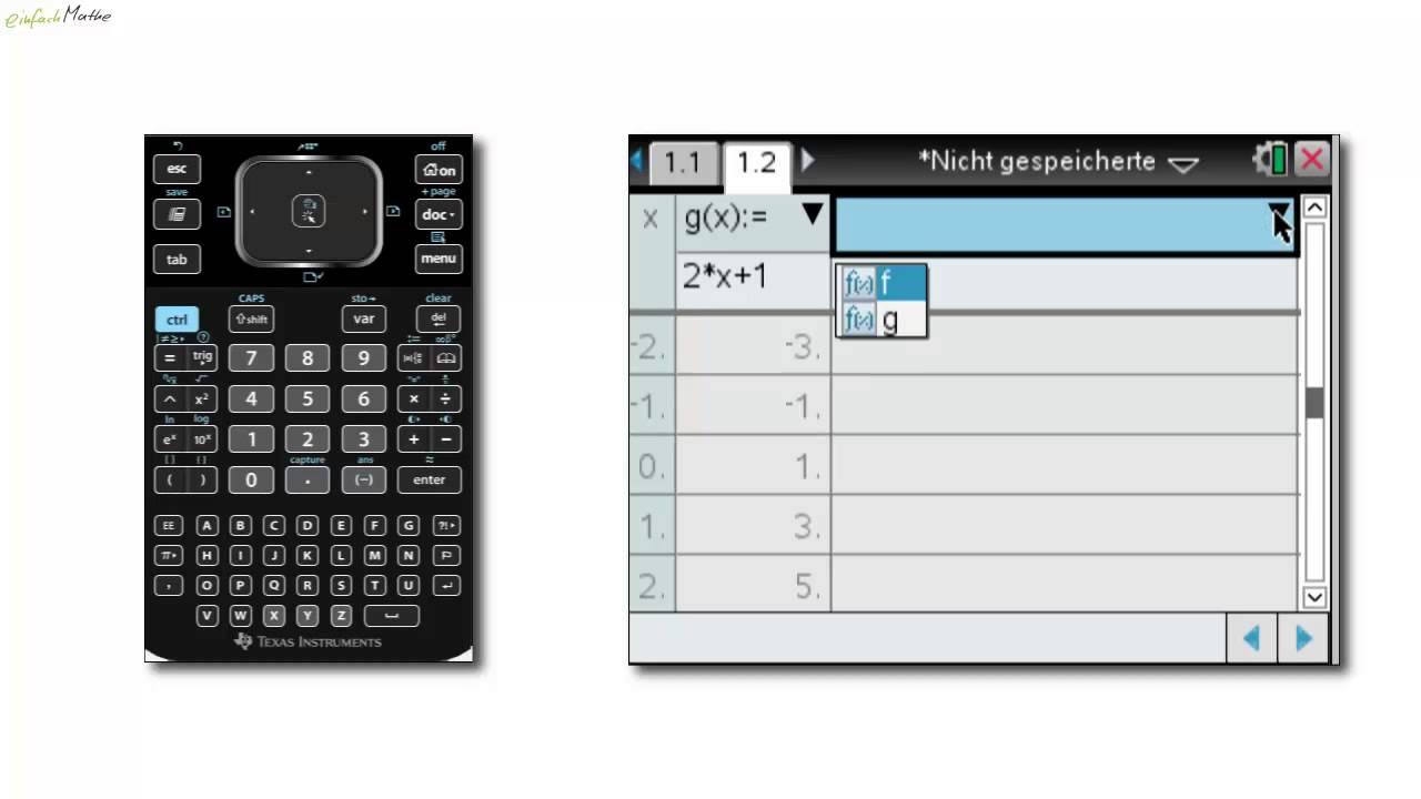 04 Funktionen - Wertetabelle erstellen mit dem TI Nspire CX CAS ...