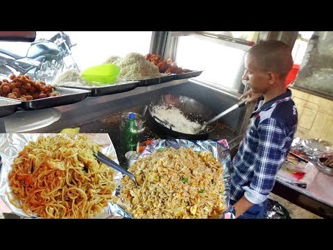 Hungry People Eating Fast Food | Egg Fried Rice / Chicken Noodles / Manchurian @ 30 Rs Each Plate