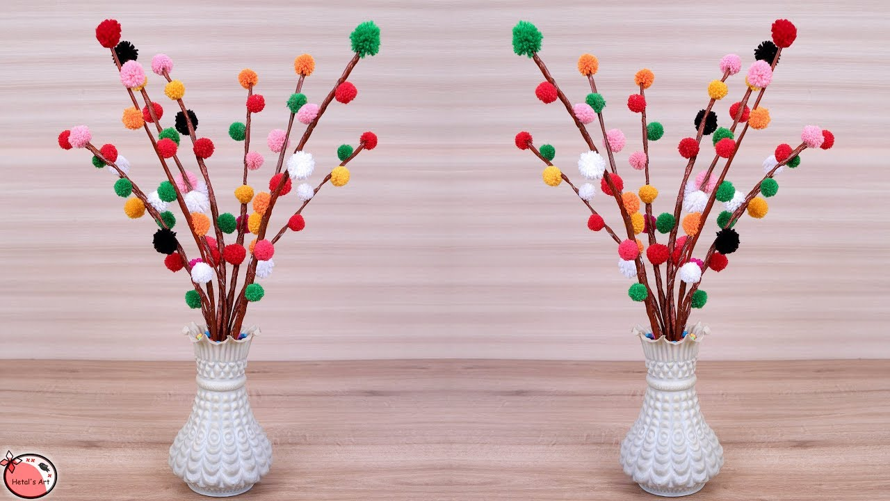 Wow Beautiful Flower Vase Making At Home Handmade Things Diy Wool Craft