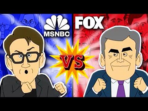 Fox News vs MSNBC | Cartoon Rap Battle (feat Hannity, Maddow, Kanye)