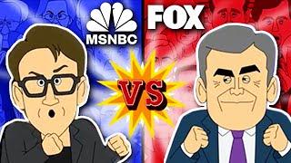 Fox News vs MSNBC   Cartoon Rap Battle (feat Hannity, Maddow, Kanye)