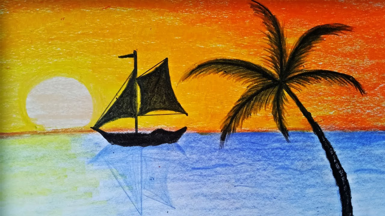How To Draw Sunset Scenery With Oill Pastel Step By Step Easy Draw