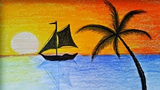 How to draw Sunset Scenery with Oill Pastel .Step by step(easy draw)