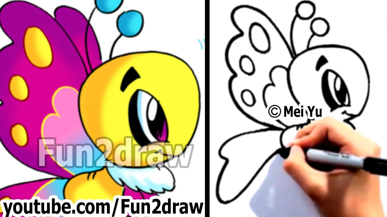 How to draw cartoons easy learn to draw a cartoon butterfly step by step fun2draw art lessons