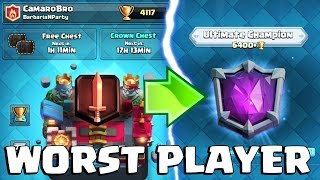WORST PLAYER EVER PUSH TO ULTIMATE CHAMPION LEAGUE SERIES | Clash Royale | Episode 1