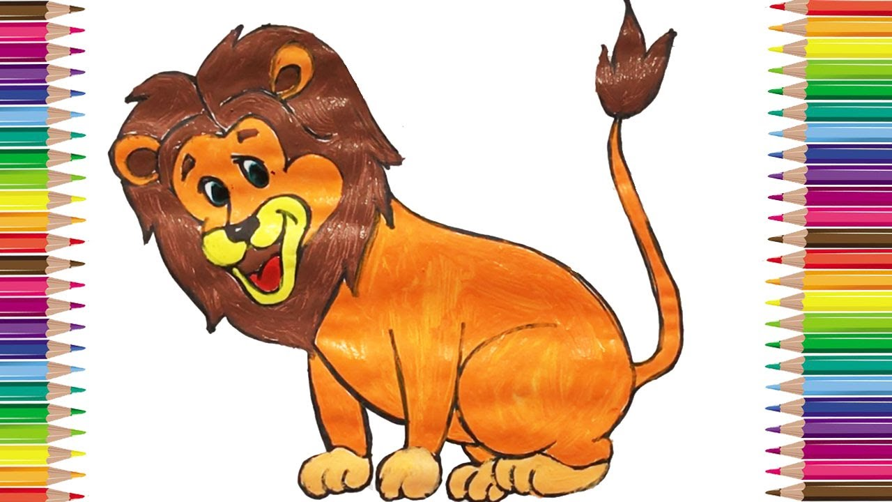 How to Draw Lion Coloring Pages Animals for Kids, Art Colors for ...