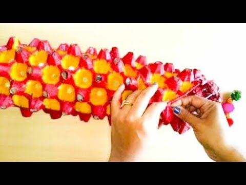 HOW TO MAKE EGG TRAYEGG CARTON WALL HANGINGLAMPWIND CHIMELANTERN Fascinating How To Decorate Egg Tray