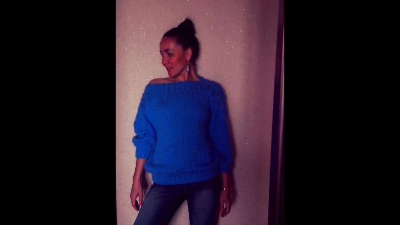 вяжем женский длинный свитер от горловины