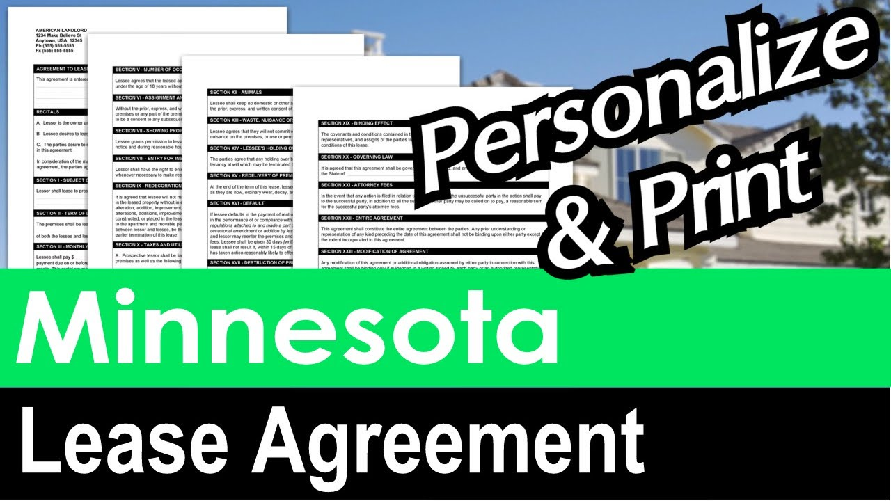 Minnesota Lease Agreement For Rental Property Youtube