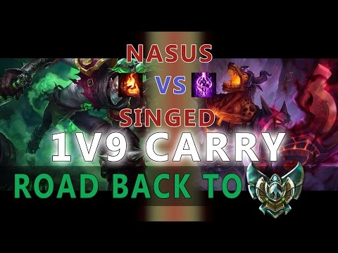 1V9 NASUS CARRY | Learn how to peel for your back line | Road back to Platinum elo