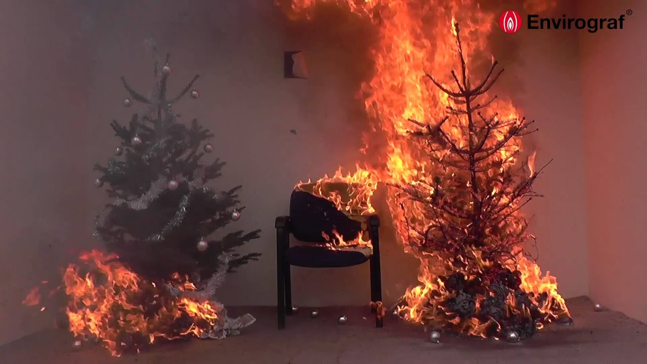 Christmas Tree On Fire.Christmas Tree Fire Demonstration