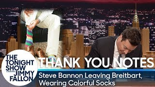 Thank You Notes: Steve Bannon Leaving Breitbart, Wearing Colorful Socks thumbnail