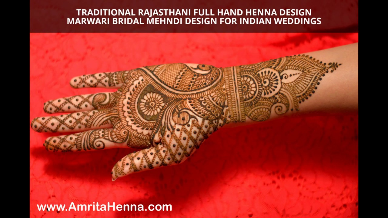 Traditional Rajasthani Full Hand Henna Design Marwari Bridal