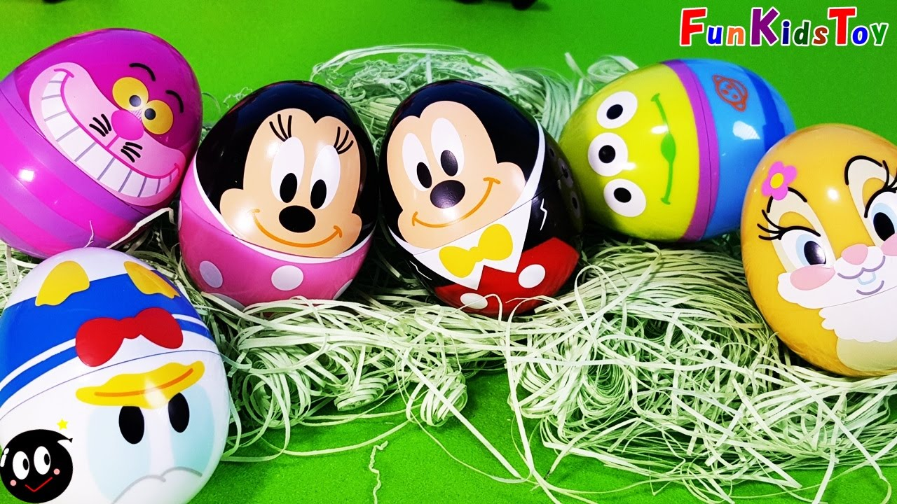 Surprise Eggs Disney Easter Mickey Mouse Minnie Cheshire Cat Pixar 3D Collection