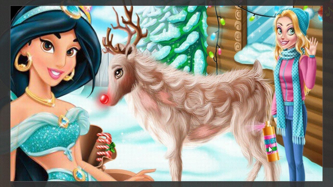 A Rena Mais Famosa Do Papai Noel vamos cuidar da rena do papai noel e montar a árvore de natal com as  princesas jasmine e rapunzel