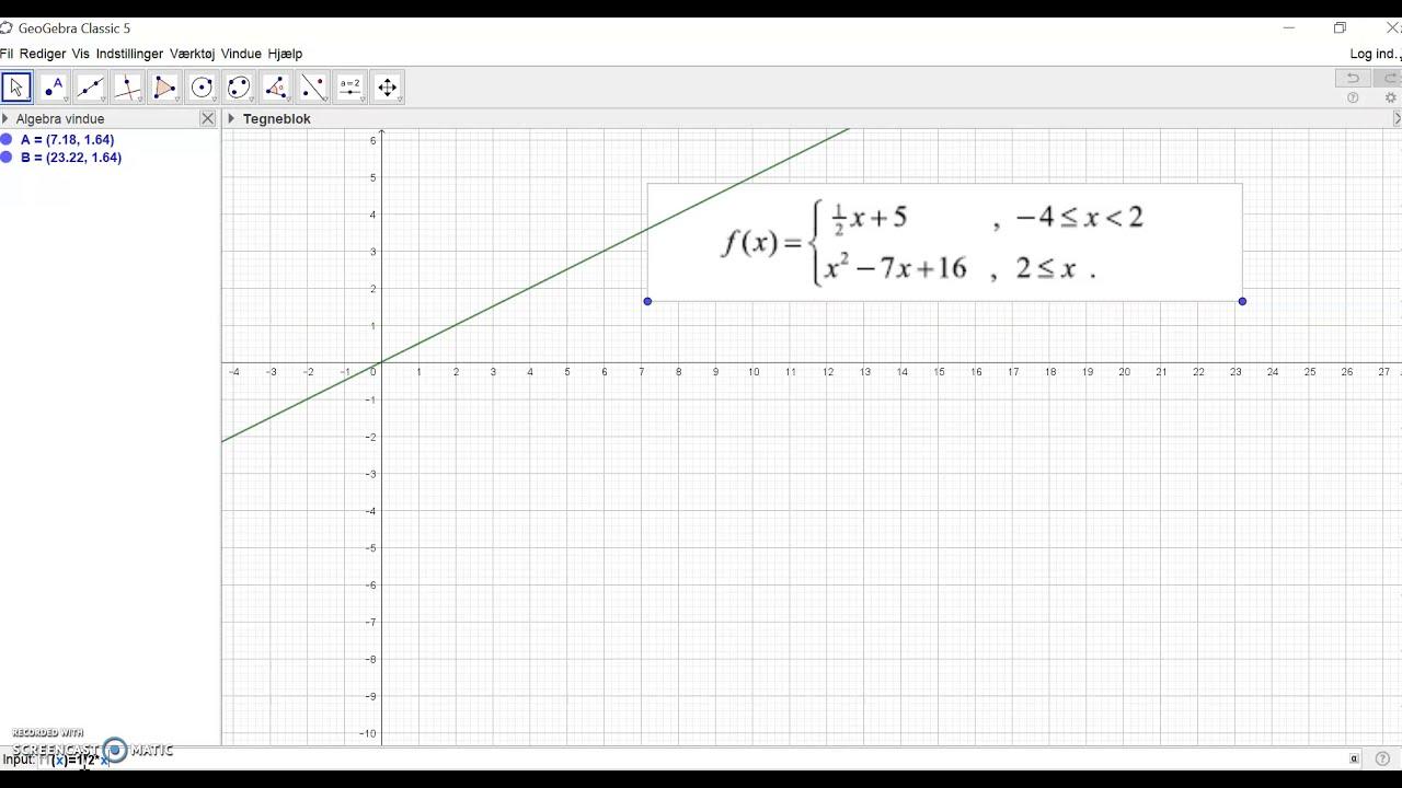 Stykkevis  funktion 2 - Geogebra