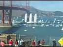 Perkins' Yacht Maltese Falcon Sailing Under Golden Gate Bridge, San Francisco