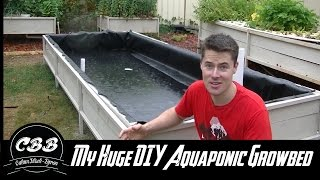 My Huge DIY Aquaponic Grow Bed! Part 2 - Pond liner, Uniseals and more!