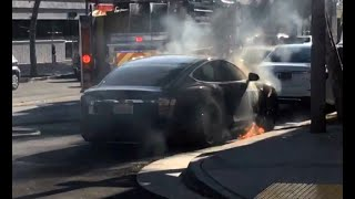 TESLA BATTERY FIRE: Actress Mary McCormack posts Twitter video of  husband's Model S Tesla on fire o