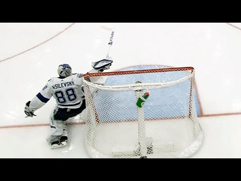 Referee waves play off but Andrei Vasilevskiy makes great reactionary save