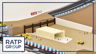 Opération de ripage du tunnel du prolongement de la ligne 11