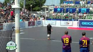 PSW Interview with Indi Cowie, trick freestyler, performs at The Mia Hamm Celebrity Soccer Challenge