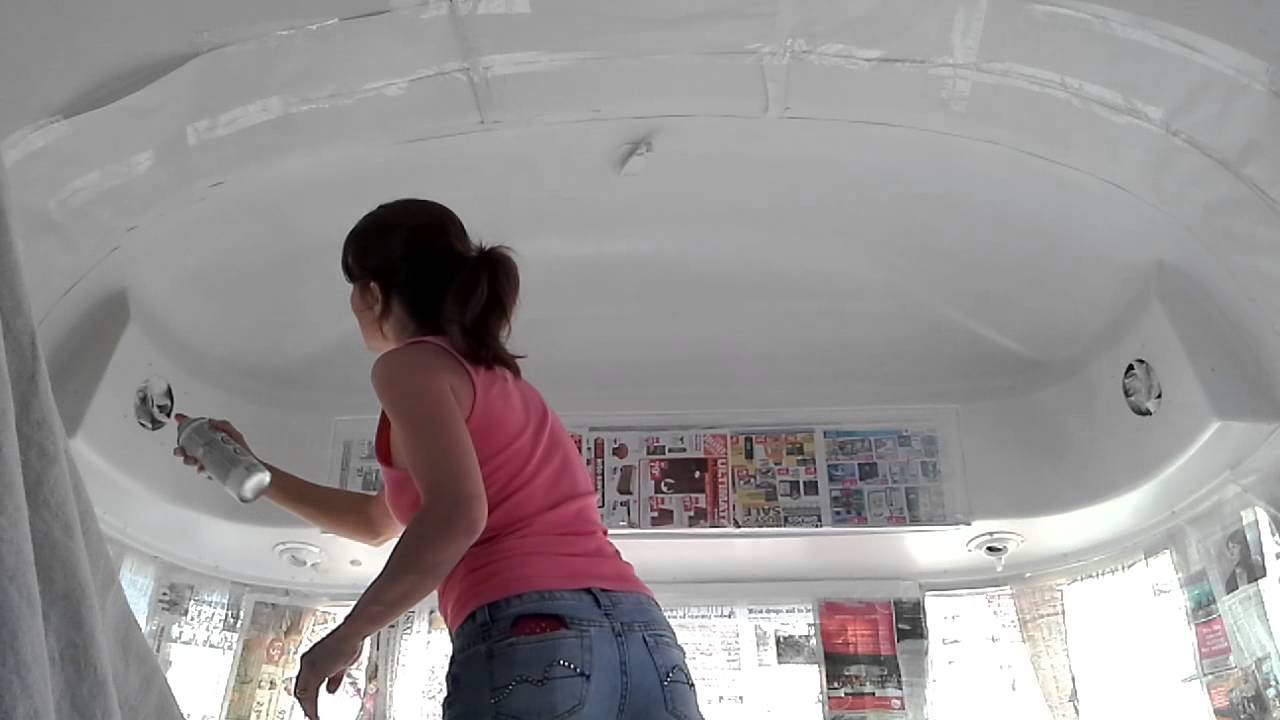 Spraying The Plastic End Caps In An Airstream S Interior
