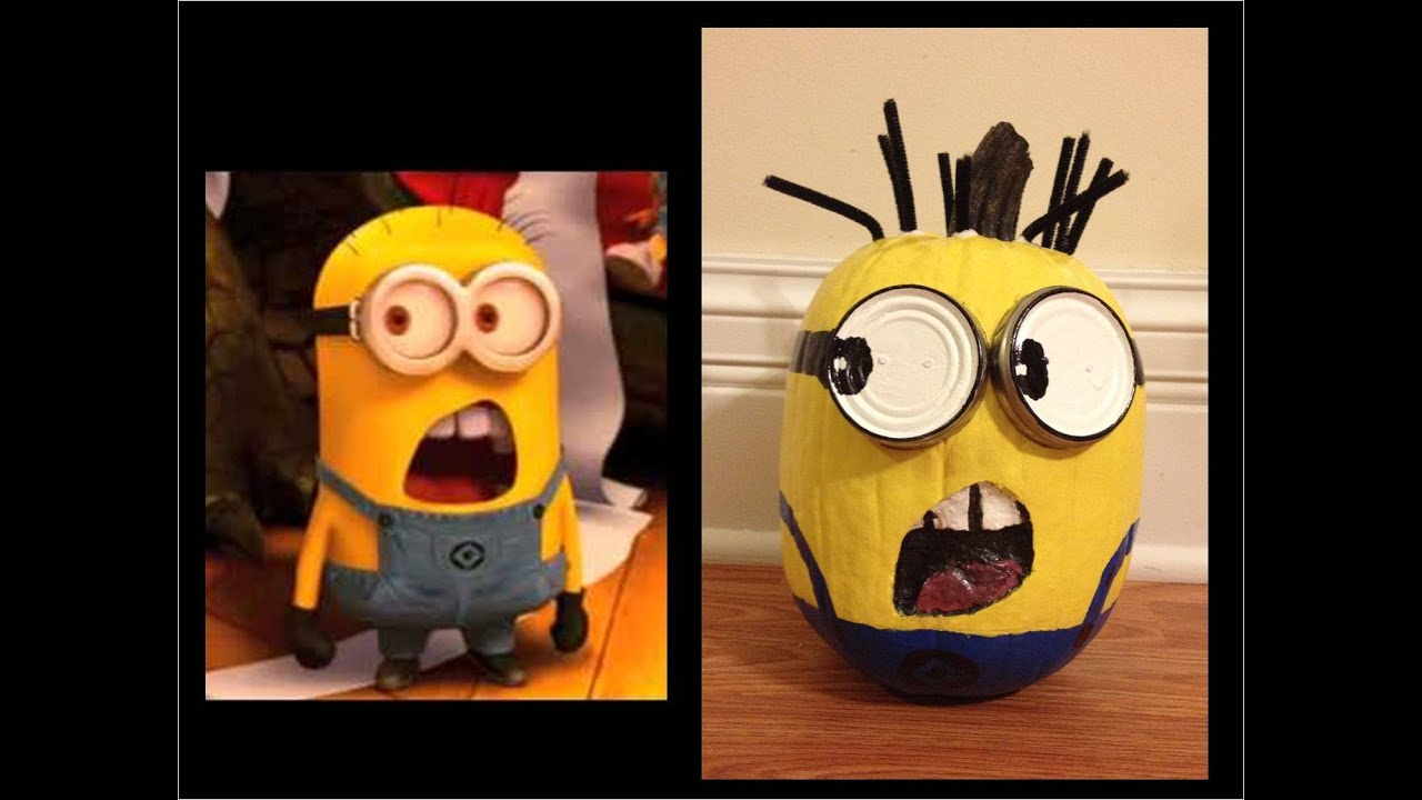 Painted Minion Pumpkins How To Paint A Yellow Minion Pumpkin From Despicable Me 2 Youtube
