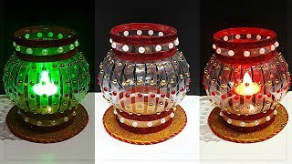 DIY-Showpiece/Tealight Holder from waste Plastic Bottle|Best out of waste-Room decoration idea