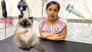 قطة شفا مريضة  أخذناها للدكتور !!!