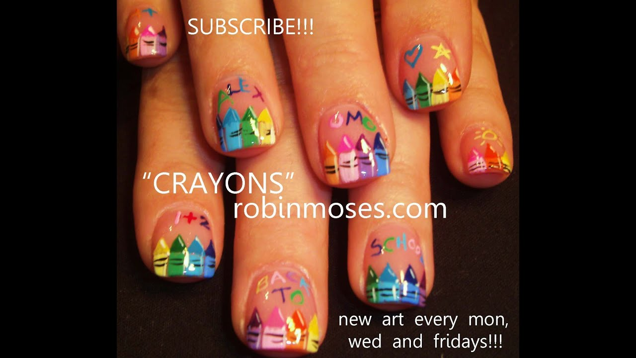 Easy Nail Art Tutorial Diy Back To School Crayola Crayon Design
