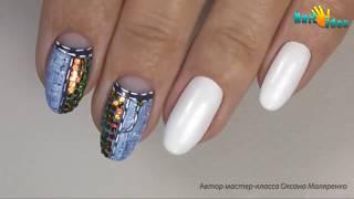 Дизайн гель лаком идея Маникюра с пайетками Джинс►Пошаговый видео урок по дизайну ногтей гель лаком