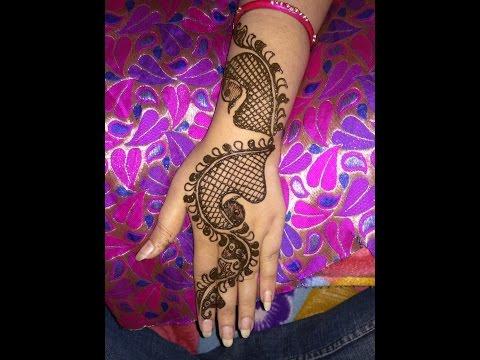 Latest New Peacock Heena Mehndi Designs For Back Hands 2017