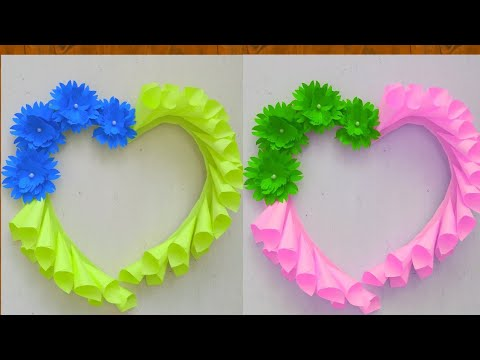 DIY : Paper  Flower Craft Ideas - Wall Decoration Idea - Simple Home Decor - Wall Hanging