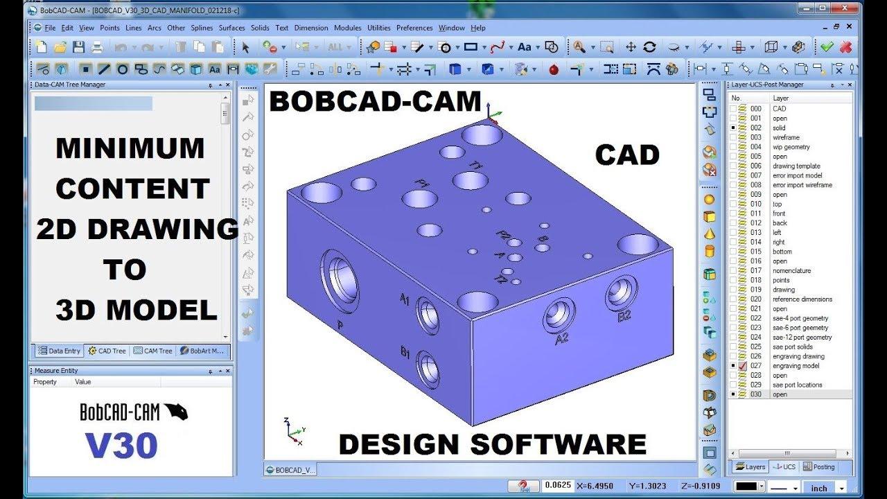 BOBCAD-CAM V30 CAD 2D DESIGN TO 3D MODEL