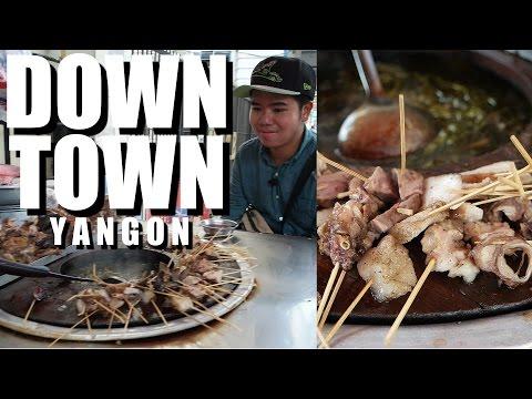 Trying Myanmar BURMESE FOOD at DOWNTOWN YANGON 2016