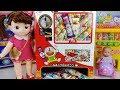 Baby doll and snack vending machines toys Poli car play 아기인형과 우마이봉 과자 뽑기 자판기 만들기 폴리 뽀로로 장난감 놀이 - 토이몽