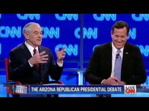 Ron Paul calls Rick Santorum fake during CNN Arizona debate