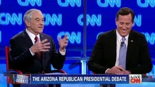 Ron Paul calls Rick Santorum fake during CNN Arizona debate