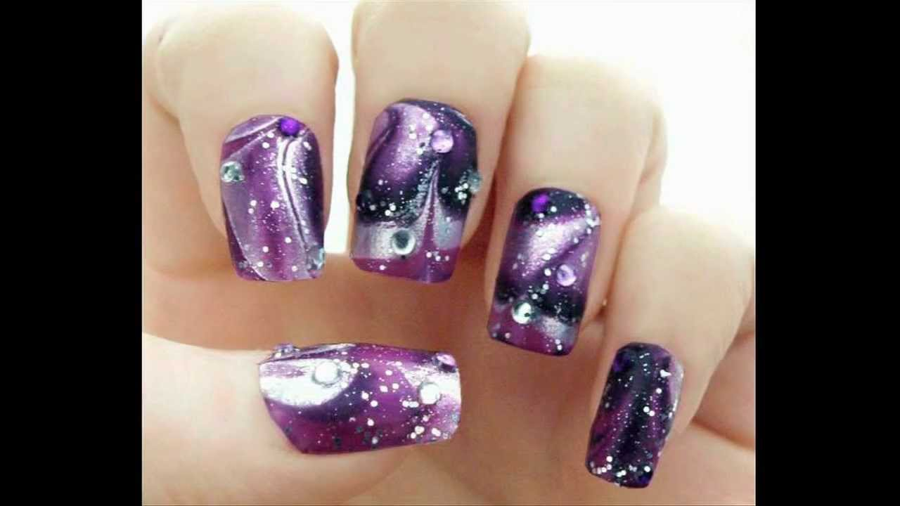 galaxy water marble nails glitterface