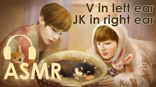 Taekook puppy love 🐯🐰 BTS ASMR (V in left ear,JK in righ…