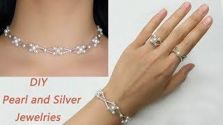 DIY Statement Pearl Beading Jewelries / How to Make Pearl Beading Bracelet, Rings and Necklace