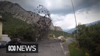 Powerful Mudslide Crashes Through Village In Switzerland Damaging Cars And Properties