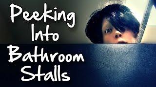 Peeking Into Bathroom Stalls Prank! (ALMOST GOT SHOT)