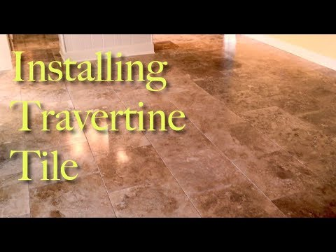 Installing Beautiful 18x18 Travertine Tile. Offset/Brick Pattern